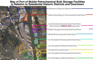 Aerial Map of Port of Mobile Petrochemical Bulk Storage Facilities in Relation to Residential Historical Districts and Downtown