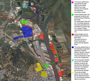 The Africatown Safari route shown with waterfront petrochemical facility and residential neighborhood locations