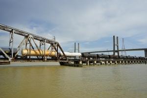 Chickasabogue CSX Turn Bridge occupied by a bomb train