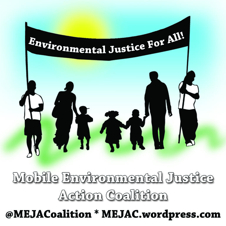 "MEJAC logo: a family in silouette flanked by two people marching with a banner that reads ""Environmental Justice For All"". MEJAC's full name and website and social media handle are below."