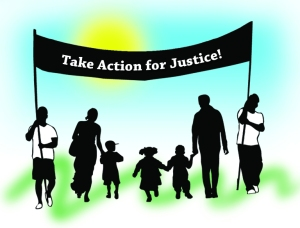 "Sillouettes of people marching holding a banner, which reads ""Take Action for Justice!"""